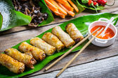 Fried spring rolls surrounded by ingredients — Foto Stock