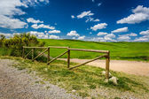 Old wooden fence, dirt road and green field — Stock Photo