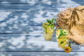 Cold drink with lemon and mint leaf as summer background — Stock Photo
