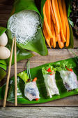 Färska vårrullar med grönsaker — Stockfoto