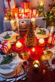 Dinning room at Christmas Eve — Stock Photo