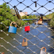 Love locks on a bridge — Stock Photo