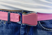 Pink safety belt buckle — Stock Photo