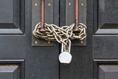 Chain closed door — Stock Photo