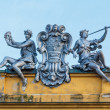 Statues on the theater of Zagreb, Croatia — Stock Photo