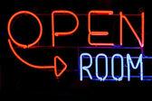 Open room neon sign — Stock Photo