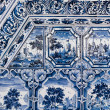 Blue white paintings on a tiled stove — Stock Photo