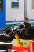 Steering wheel of baggage carrier cart — Stock Photo
