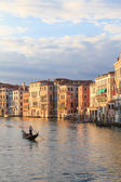 Gondoliere on canal grande — Stock Photo