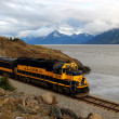 Stock Photo: Alasktrain on Turnagain Arm