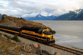 Alaskan train on the Turnagain Arm — Stock Photo