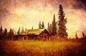 Old Alaskan cabin with vintage texture — Stock Photo