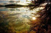 Alaskan lake in evening light — Stock Photo