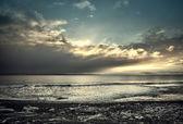 Ledový aljašské pláž při západu slunce — Stock fotografie