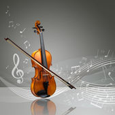 Violin and fiddle stick with musical notes — Stock Photo