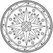Geometric mandala drawing sacred circle — Stock Photo