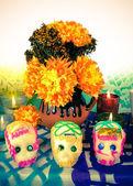 Sugar skulls on day of the dead (Dia de Muertos) — Stock Photo