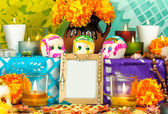 Mexican day of the dead altar (Dia de Muertos) — Stock Photo