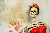 Day of the dead. Catrina on old wall — Stock Photo