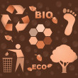 Bio eco icon symbols - Stock Photo