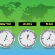 Stock Photo: Worldwide clocks