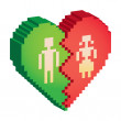 Stock Photo: Broken heart 3d pixels