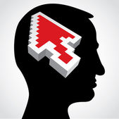 Red arrow in a human head — Stock Photo