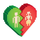 Broken heart 3d pixels — Stock Photo