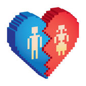 Broken heart 3d pixels — Stockfoto