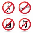 "Stock Photo: Set of ""not allowed music"""