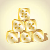 Six golden playing dices — Stock Photo