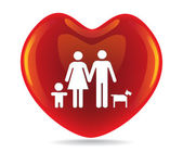 Basic family in big heart — Stock Photo