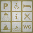 Outdoor camping icons — Stock Photo