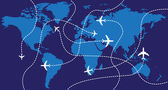 World Map Airplanes — Stok fotoğraf