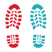 Shoe red and green footprint — Stock Photo