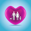 family in big heart — Stock Photo