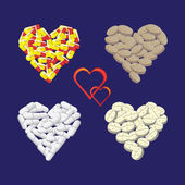 Hearts from pills — Stock Photo