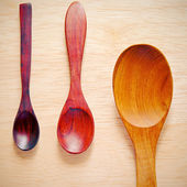 Coleção de colheres de cozinha de madeira com efeito de filtro retrô — Foto Stock