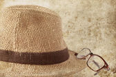 Straw hat with glasses — Stok fotoğraf