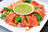 Spicy salmon salad — Stock Photo