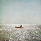 Silhouet van visser — Stockfoto