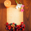 Stock Photo: Paper, flower and candle