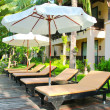 Stock Photo: Chairs and umbrella near pool