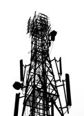 Silhouette of antenna tower — Foto Stock