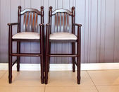 Two highchairs in restaurant for kids — Stok fotoğraf