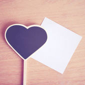 Heart blackboard and note paper — Stock Photo