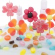 Candy flowers on candyfloss — Stock Photo