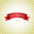 Christmas Greeting Card with red ribbon — Stock Photo