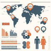 Infographics set with world map — Stock Photo