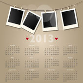 Vector 2012 calendar with polaroid photo frames — Stock Photo
